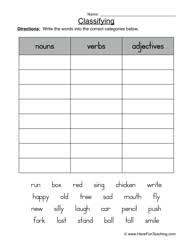 classifying worksheet nouns verbs or adjectives worksheets