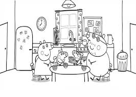 peppa pig family dining room colouring colouring pics