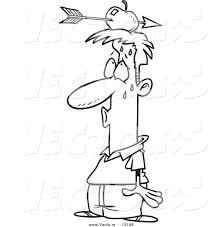 vector of a cartoon relieved man with an arrow through an apple on