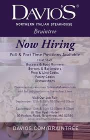 resume for bartender position available flyers we are now hiring for the new davio s davio s braintree