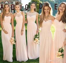 2016 pink navy cheap bridesmaid dresses mixed neckline flow