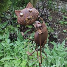 rocking metal cat garden ornament feature 24 95 garden4less