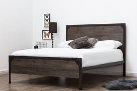 Panel Bed Frame Marlow Rustic Metal Industrial Wood Panel Bed Frame King