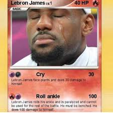 Lebron James Crying Meme - lebron james lv 1 40 hp cry 30 lebron james face plants and does 30