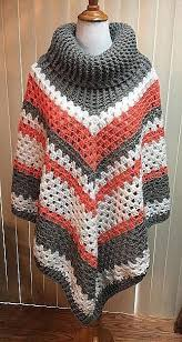 Handmade Poncho - cowl neck crochet poncho crochet and knit