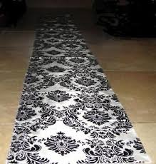 black aisle runner 50ft flocking damask taffeta wedding aisle runner black white