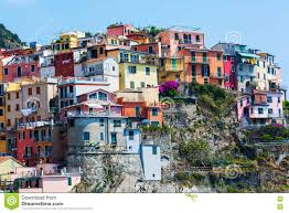 Italy Houses by Houses Built At A Hill In Manarola Cinque Terre Italy Stock