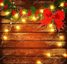 vector christmas background with garland on a wooden wall u2014 stock