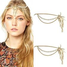 chain headband hair band jewelry women rhinestone metal chain headband