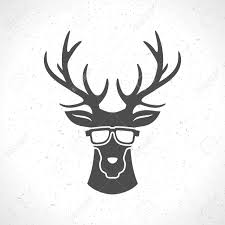 deer head silhouette isolated on white background vintage vector