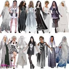 ladies ghost halloween spirit corpse bride haunting fancy dress