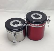 2 piece stainless steel coffee canister set with one way off