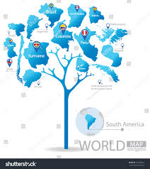 Colombia World Map by Tree Design Countries South America World Stock Vector 152650361