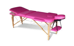 massage table beauty couch bed folded 3 section wooden frame pink