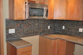 slate and glass backsplash tiles