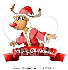 cartoon christmas rudolph reindeer wearing santa suit