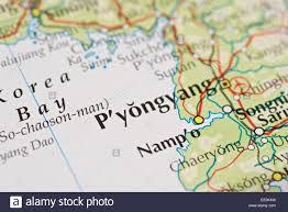 Map Of World Korea by Close Up Of Atlas Map Of Pyongyang Capital City Of North Korea
