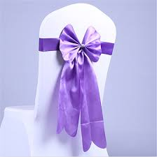 purple chair sashes 100pcs big bow purple chair sashes leather wedding chair bands for