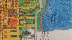 Grant Park Map Chicago by Downtown Chicago Map Stop Motion Youtube