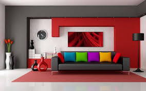 home design living room colorful with art also big clock on wall