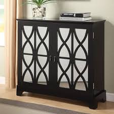 accent cabinet with glass doors powell company accent cabinets black console with mirrored glass