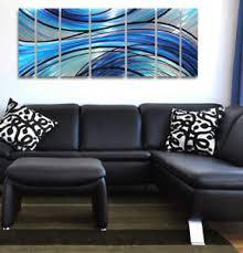 metal wall art modern abstract painting sculpture home decor blue