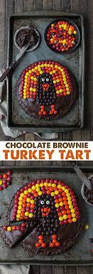 this chocolate brownie turkey tart is a thanksgiving dessert
