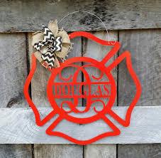 personalized housewarming gifts personalized fireman door hanger maltese cross wreath wedding