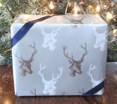 metallic christmas wrapping paper white and metallic silver deer stag buck christmas wrapping