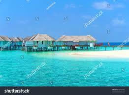 maldive water villa bungalows white beach stock photo 76243969