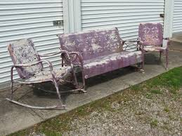 Retro Glider Sofa by 4 Vintage Metal Retro Lawn Furniture Patio Shell Back Chairs Pu