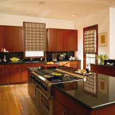 kitchen kitchen window decorating idea with brown roman shades of