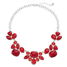 red necklace statement images Red geometric statement necklace