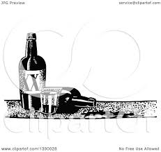 alcohol vector clipart of a vintage black and white cup and bottles of alcohol