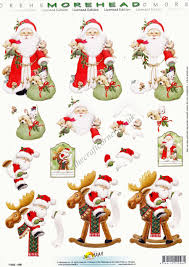 morehead traditional father christmas 3d decoupage paper craft