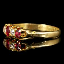 antique victorian ruby diamond ring gypsy set 18ct gold ring c