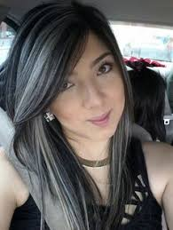 dark hair with grey streaks platinum highlights on dark hair hair pinterest platinum