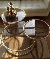 Coffee Table Nest by Hollywood Regency Mid Century 70s Brass Gold Glass Table Nest