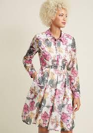 long sleeve a line shirt dress with pockets modcloth