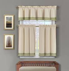 Green Bathroom Window Curtains 3 Piece Linen Kitchen Window Curtain Set Sage Green Crochet