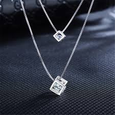 double choker necklace images Beautiful sterling silver zircon stone double choker necklace jpg