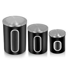 fortune candy food storage canister set of 3 black canisters jars