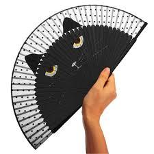 folding fan japanese cat kitten silk bamboo fan folding fan party