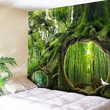 forest wall tapestry cheap casual style online free shipping at wall hanging forest life tree pattern tapestry