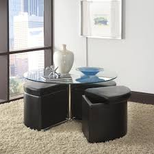 furniture black leather square table with storage ottomans