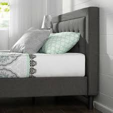homepacific grey upholstered platform bed frame with button tufted