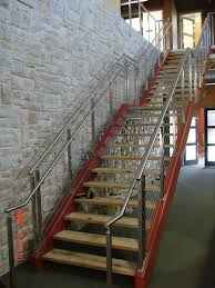 Stainless Steel Handrails For Stairs Custom Made Steel Tube Stair Stringer W Stainless Steel Cable