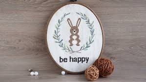 be happy hand embroidery pattern pdf bunny printable cross stitch