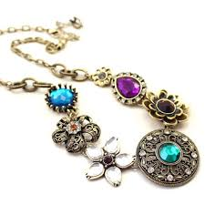 multi coloured necklace images Cinderella floral motif stone multicolor necklace for women jpg