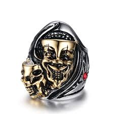 skull gothic rings images Online shop men 39 s skull bone gothic rings of punk gold scorpions jpg